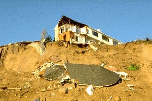 Landslide in Pacific Pallisades, Northridge Earthquake, 1994