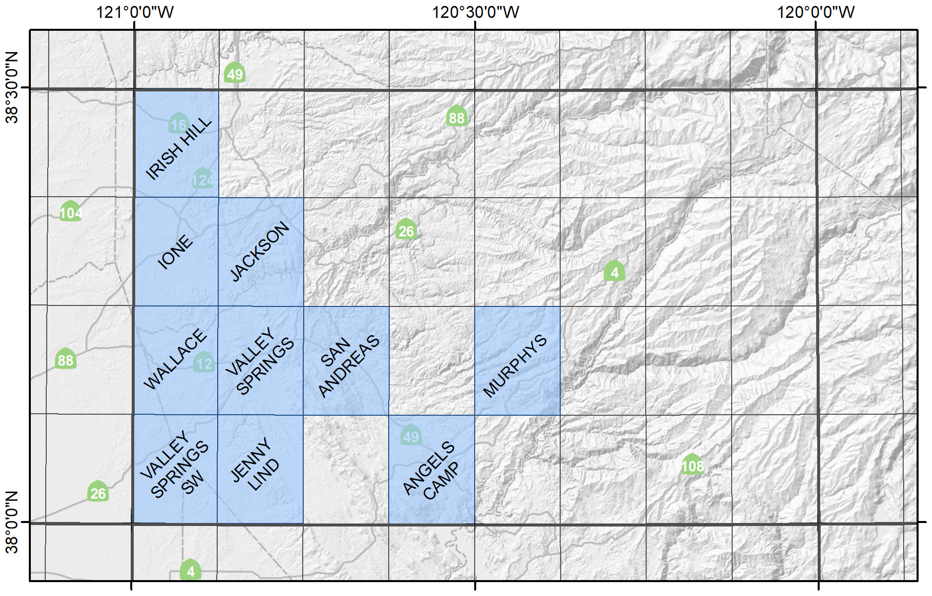Map of the Central Sierra Foothills Region showing available quadrangles.
