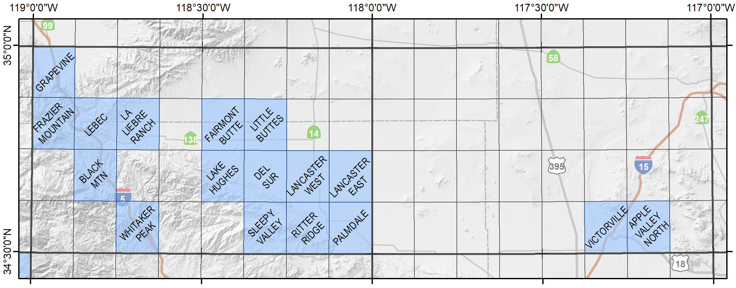 Map of the Lancaster-Victorville Region showing available quadrangles.